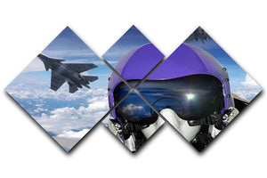 Jet fighter pilot cockpit view 4 Square Multi Panel Canvas  - Canvas Art Rocks - 1