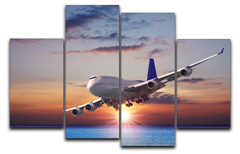 Jet liner over the sea at dusk 4 Split Panel Canvas  - Canvas Art Rocks - 1