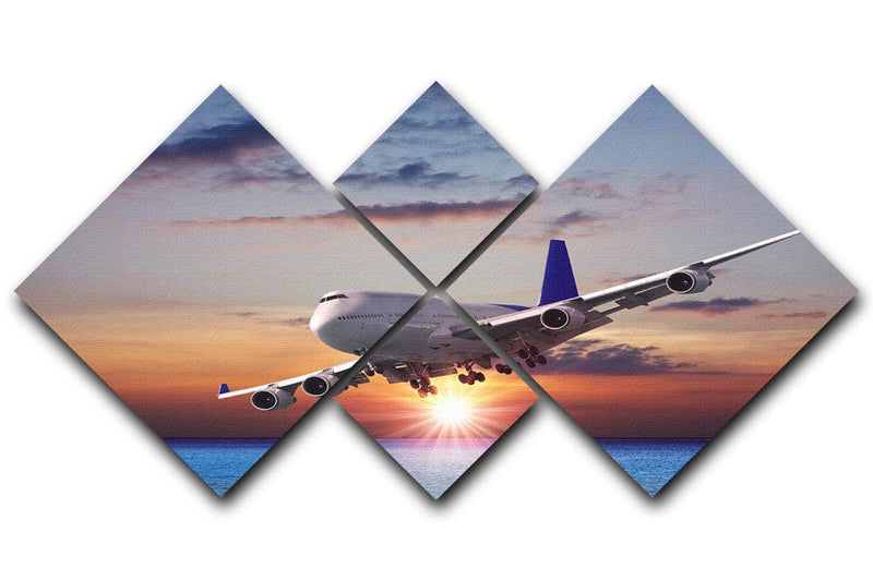 Jet liner over the sea at dusk 4 Square Multi Panel Canvas  - Canvas Art Rocks - 1