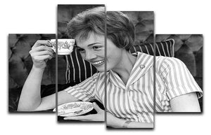Julie Andrews with a cup of tea 4 Split Panel Canvas  - Canvas Art Rocks - 1