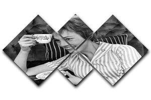 Julie Andrews with a cup of tea 4 Square Multi Panel Canvas  - Canvas Art Rocks - 1
