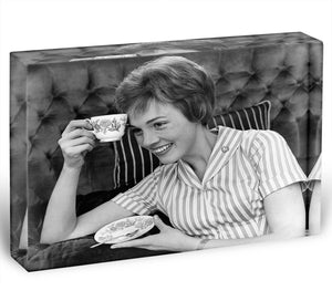 Julie Andrews with a cup of tea Acrylic Block - Canvas Art Rocks - 1
