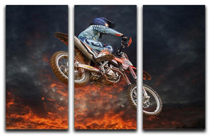 Jumping motocross rider 3 Split Panel Canvas Print - Canvas Art Rocks - 1