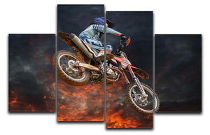 Jumping motocross rider 4 Split Panel Canvas  - Canvas Art Rocks - 1