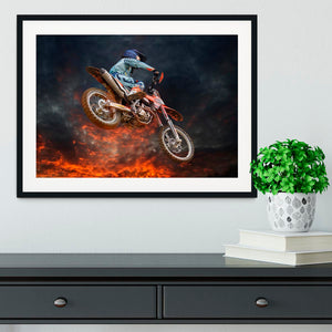 Jumping motocross rider Framed Print - Canvas Art Rocks - 1
