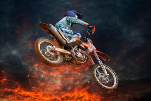 Jumping motocross rider Wall Mural Wallpaper - Canvas Art Rocks - 1