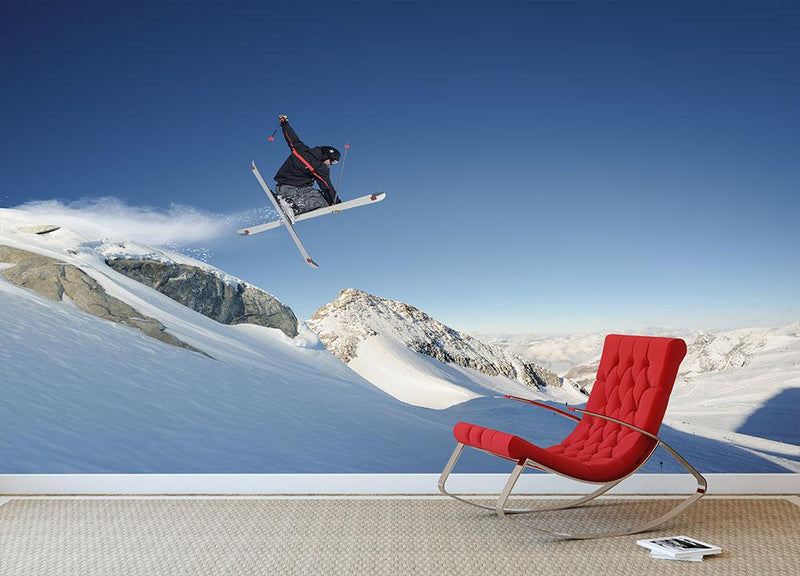 Jumping skier Wall Mural Wallpaper - Canvas Art Rocks - 1