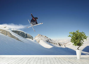 Jumping skier Wall Mural Wallpaper - Canvas Art Rocks - 4