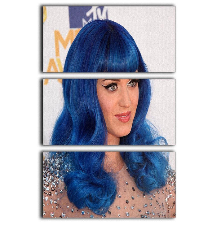 Katy Perry in blue 3 Split Panel Canvas Print