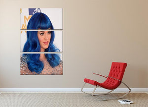 Katy Perry in blue 3 Split Panel Canvas Print - Canvas Art Rocks - 2