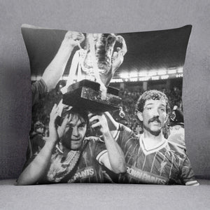 Kenny Dalglish and Graeme Souness with the Milk Cup trophy Cushion - Canvas Art Rocks - 1