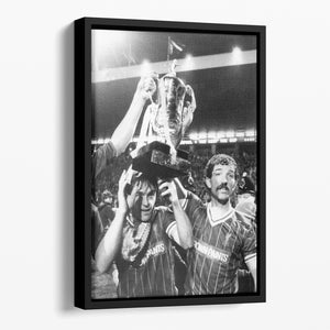 Kenny Dalglish and Graeme Souness with the Milk Cup trophy Floating Framed Canvas - Canvas Art Rocks - 1