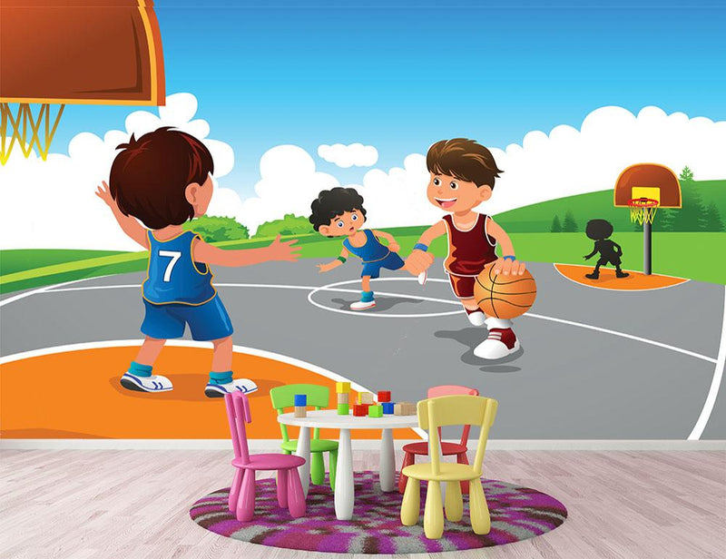 Kids playing basketball in a playground Wall Mural Wallpaper - Canvas Art Rocks - 1
