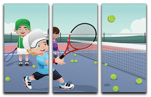 Kids practicing tennis 3 Split Panel Canvas Print - Canvas Art Rocks - 1