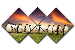 King Penguins in the Falkland Islands 4 Square Multi Panel Canvas - Canvas Art Rocks - 1