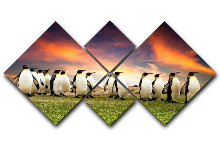 King Penguins in the Falkland Islands 4 Square Multi Panel Canvas