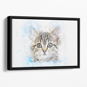Kitten Painting Floating Framed Canvas