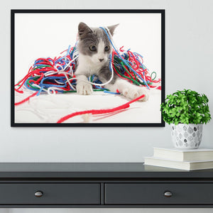 Kitten playing with yarn Framed Print - Canvas Art Rocks - 2