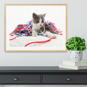 Kitten playing with yarn Framed Print - Canvas Art Rocks - 3