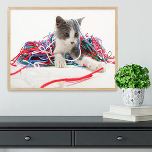 Kitten playing with yarn Framed Print - Canvas Art Rocks - 4