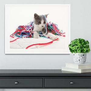 Kitten playing with yarn Framed Print - Canvas Art Rocks - 5