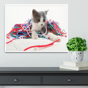 Kitten playing with yarn Framed Print - Canvas Art Rocks -6