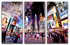 LED signs Broadway Theaters 3 Split Panel Canvas Print - Canvas Art Rocks - 1