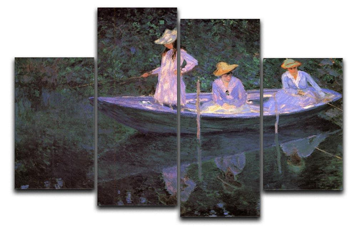 La Barque at Giverny by Monet 4 Split Panel Canvas
