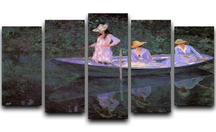 La Barque at Giverny by Monet 5 Split Panel Canvas