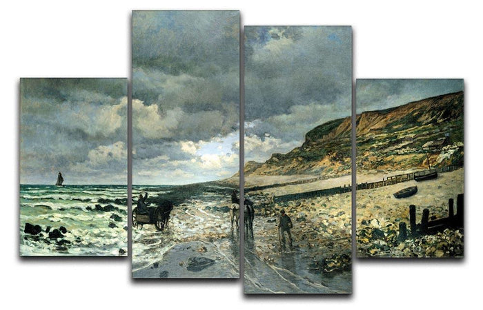 La Pointe del Heve at low tide by Monet 4 Split Panel Canvas