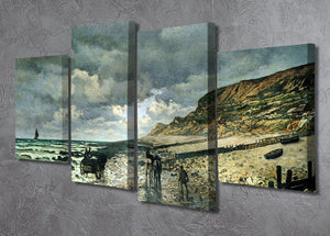 La Pointe del Heve at low tide by Monet 4 Split Panel Canvas - Canvas Art Rocks - 2
