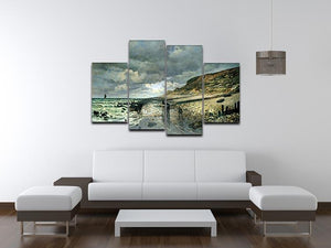 La Pointe del Heve at low tide by Monet 4 Split Panel Canvas - Canvas Art Rocks - 3
