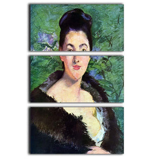 Lady in Fur by Manet 3 Split Panel Canvas Print - Canvas Art Rocks - 1