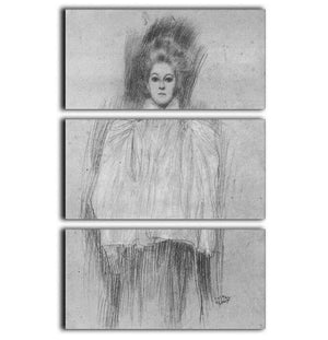Lady in cape by Klimt 3 Split Panel Canvas Print - Canvas Art Rocks - 1