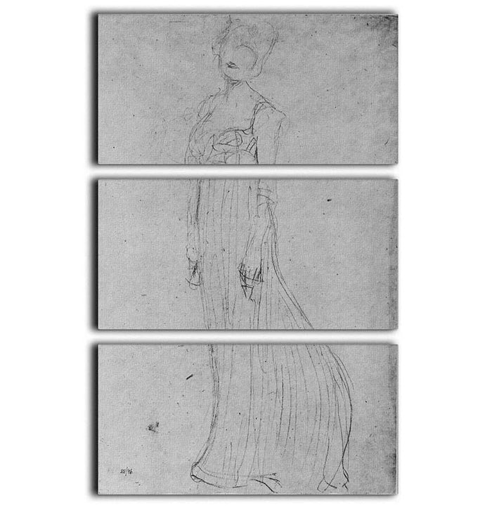Lady in long dress by Klimt 3 Split Panel Canvas Print