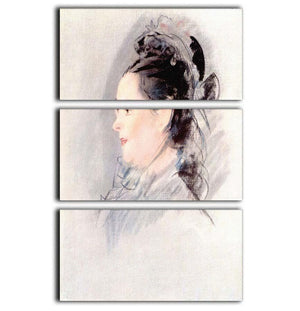 Lady with Hair Up by manet 3 Split Panel Canvas Print - Canvas Art Rocks - 1