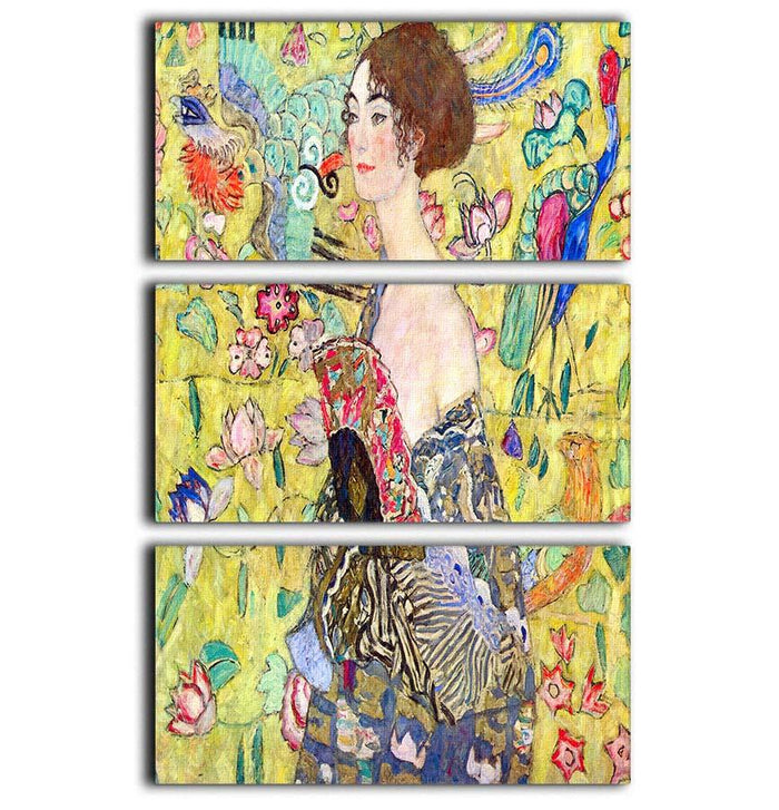 Lady with fan by Klimt 3 Split Panel Canvas Print