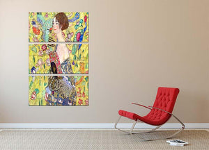 Lady with fan by Klimt 3 Split Panel Canvas Print - Canvas Art Rocks - 2