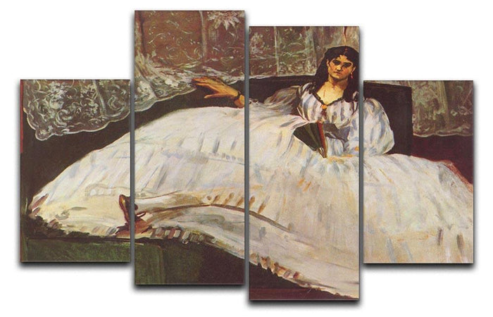 Lady with fan by Manet 4 Split Panel Canvas