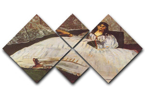 Lady with fan by Manet 4 Square Multi Panel Canvas  - Canvas Art Rocks - 1