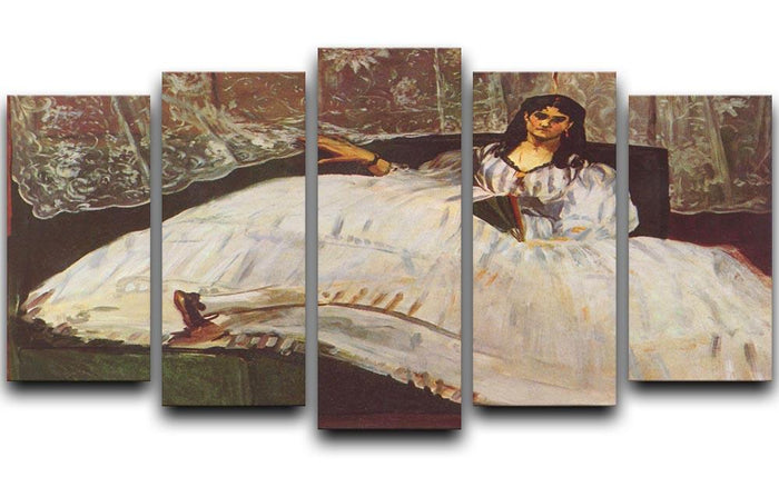 Lady with fan by Manet 5 Split Panel Canvas