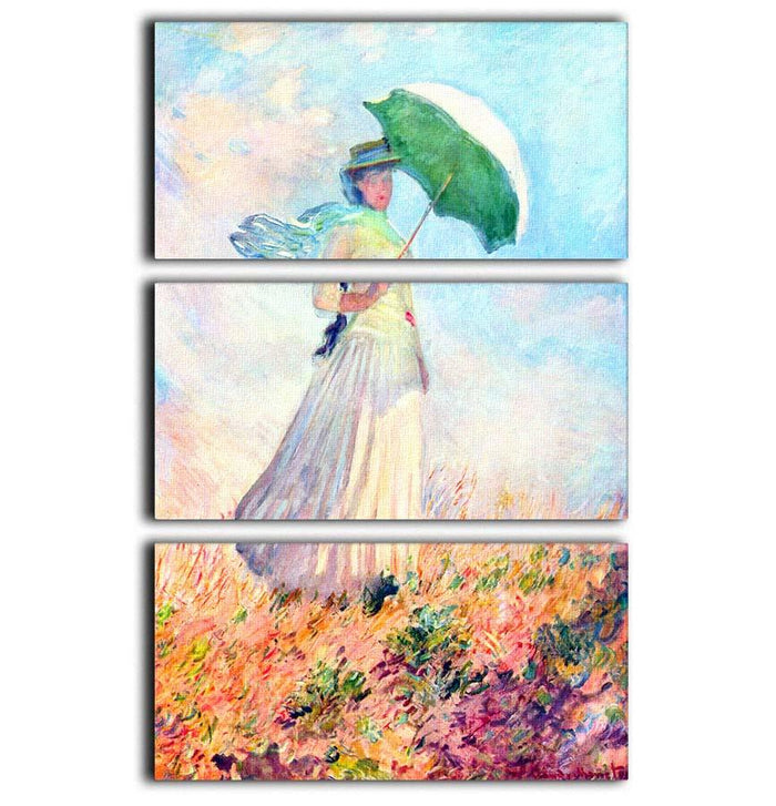 Lady with sunshade study by Monet 3 Split Panel Canvas Print