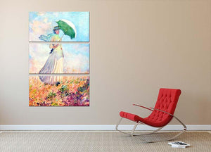 Lady with sunshade study by Monet 3 Split Panel Canvas Print - Canvas Art Rocks - 2