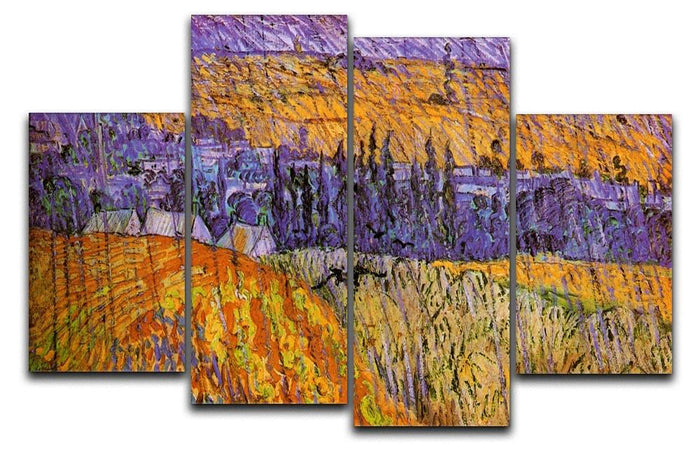 Landscape at Auvers in the Rain by Van Gogh 4 Split Panel Canvas