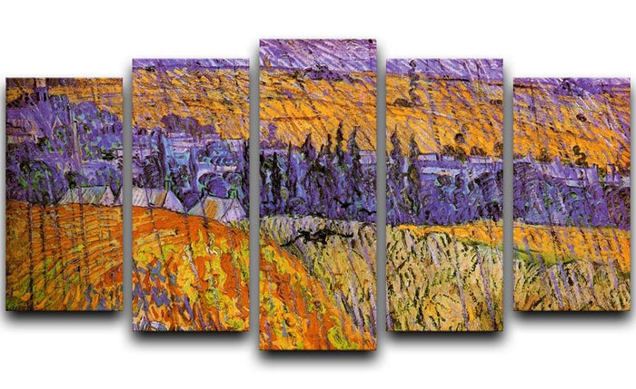 Landscape at Auvers in the Rain by Van Gogh 5 Split Panel Canvas