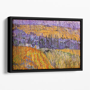 Landscape at Auvers in the Rain by Van Gogh Floating Framed Canvas
