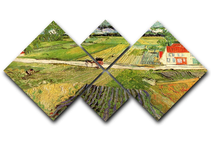 Landscape with Carriage and Train in the Background by Van Gogh 4 Square Multi Panel Canvas