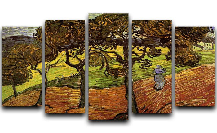 Landscape with Trees and Figures by Van Gogh 5 Split Panel Canvas