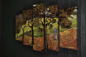 Landscape with Trees and Figures by Van Gogh 5 Split Panel Canvas - Canvas Art Rocks - 2