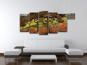Landscape with Trees and Figures by Van Gogh 5 Split Panel Canvas - Canvas Art Rocks - 3